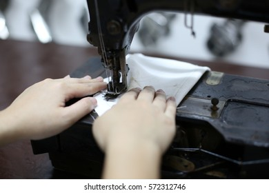 sew machine tailoring close up