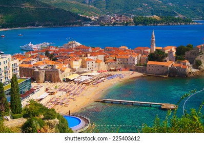 Sew view to  the Old Town od Budva in Montenegro