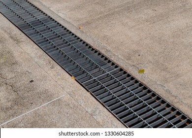 The sewage drain grate on the cement floor