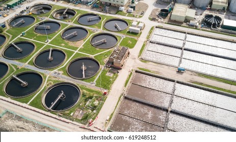 Sewage Farm: Aerial drone photo looking down onto a wide angle view of a waste water treatment processing plant in North London