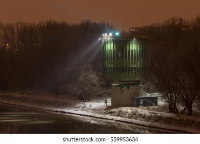 Sewage treatment object at night