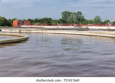 Sewage treatment plant. After primary sedimentation is the secondary basin for activating and aeration of the waste water for biological oxidation with microorganisms