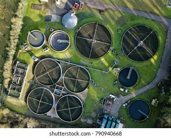 Sewage wastewater treatment plant aerial view