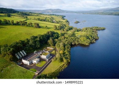 Sewage water works treatment plant aerial view from above at Loch Lomond Highlands Scotland UK