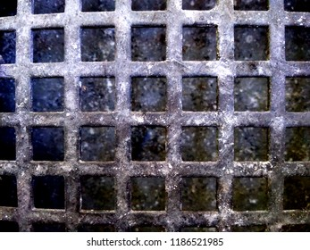 Sewer grid close-up.