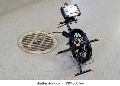 Sewer inspection camera. Horizontal image with copy space.