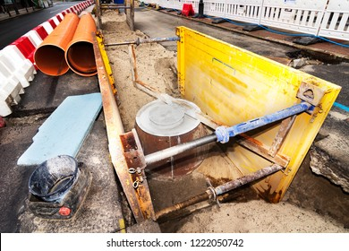 sewer line repairing  in construction site  in  city street