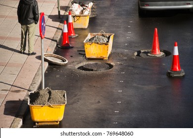 sewerage sewer  maintenance  in construction site