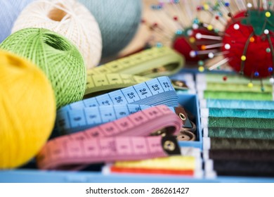Sewing accessories. Needles, pins, centimeter
