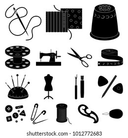 Sewing, atelier black icons in set collection for design. Tool kit bitmap symbol stock web illustration.