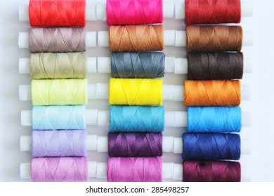 Sewing colored threads