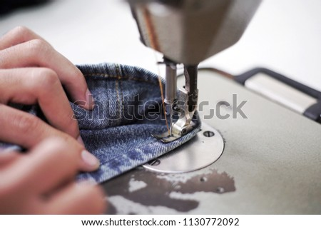 Sewing Denim Jeans Sewing Machine Repair Stock Photo Edit Now Custom Hemming Jeans Sewing Machine