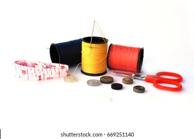 Sewing equipment on white background, isolated
