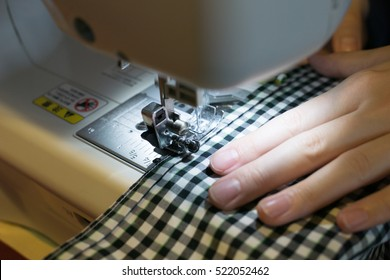 Sewing the fabric on a sewing machine