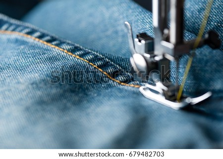 Sewing Indigo Denim Jeans Sewing Machine Stock Photo Edit Now Fascinating How To Take In Jeans Without A Sewing Machine