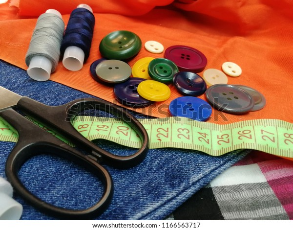 Sewing Kit Fabric Buttons Thread Scissors Stock Photo (Edit