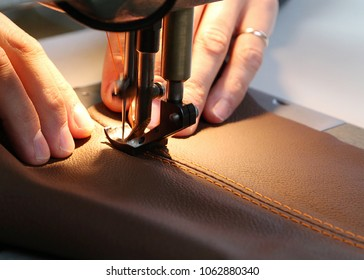Sewing machine, The sewing machine and item of leather