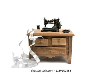 Sewing machine on the table