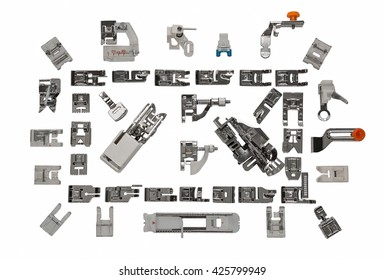 Sewing machine, the presser foot 42 pieces. On an isolated white background.