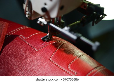 Sewing machine working with leather
