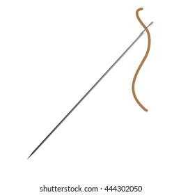 sewing needle with brown thread raster illustration