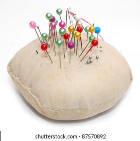 Sewing pins and pin cushion
