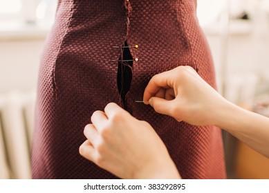 sewing skirt on a mannequin, handmade