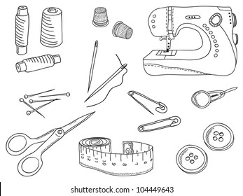 Sewing stuff and tools - hand-drawn illustration