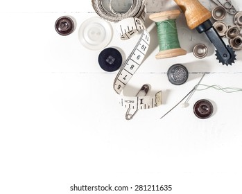 Sewing supplies background with white space for your text