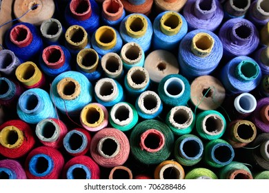 Sewing threads close up photo