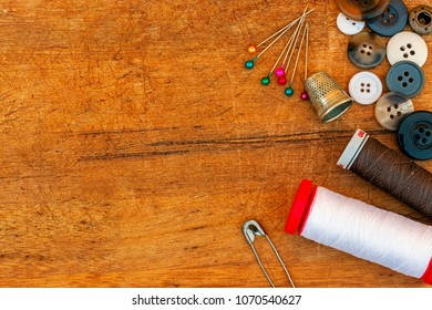 sewing tools and accessories on table