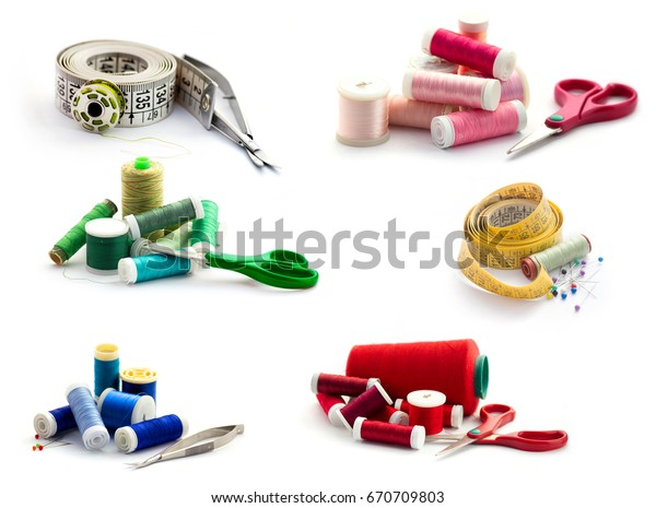 Sewing tools collection. Isolated on white