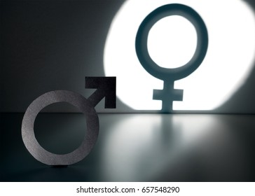 Sex change, gender reassignment, transgender and sexual identity concept. Male and man symbol in spotlight forming a female and woman sign in shadow on wall.