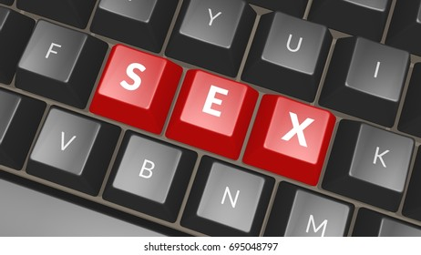 Sex computer key showing romance and love. Keyboard keys icon button in black and red colors, 3D rendering