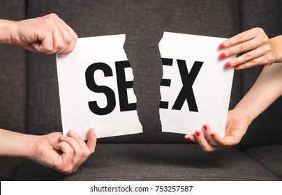 Sex problems, impotence or sexually transmitted disease concept. Couple, man and woman, ripping the same paper.