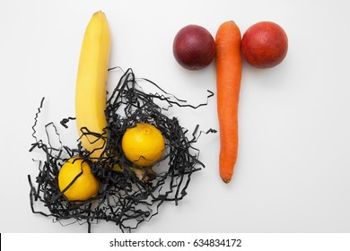 Sex, strong erection, gay fuck. Two man penis with shaved and unshaved eggs on white background, flat lay.