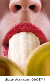 Sex symbol women sucking eating banana fruit food