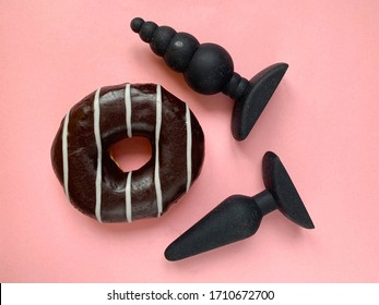 Sex toys. Black butt plags and donut. Useful for adult, sex toys