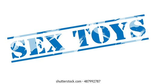 sex toys blue stamp on white background