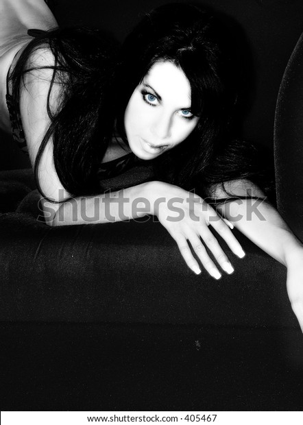 Sex woman in high key with blue eyes
