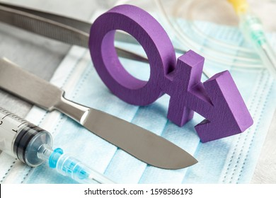 Sex-change operation. Transgender symbol and scalpel with a syringe. Surgical Instruments.