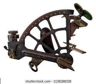Sextant isolated on white background. Sextant is an ship manual navigation tool use in astronavigation on board ships.