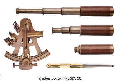 Sextant, telescope, divider isolated on white background. Vintage sea collection.