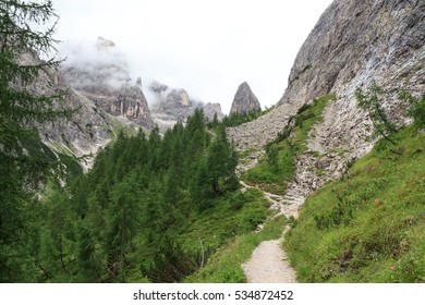 Sexten Dolomites mountain Hohe Leist and footpath in South Tyrol, Italy