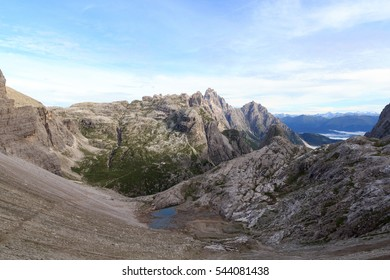 Sexten Dolomites panorama and mountain Einserkofel in South Tyrol, Italy