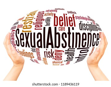 Sexual Abstinence word cloud hand sphere concept on white background.