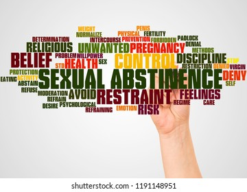 Sexual Abstinence word cloud and hand with marker concept on white background.