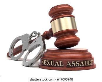 Sexual Assault text on sound block & gavel. 3d illustration.