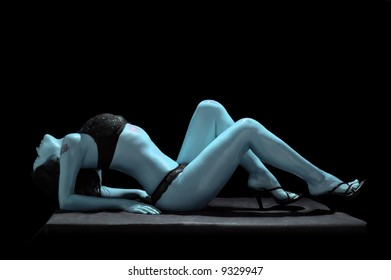 sexual brunette isolated on black background