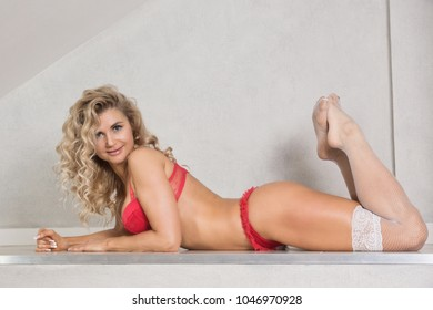 Sexual emotional attractive woman  in erotic lace underwear